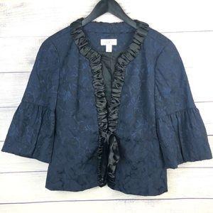 V Ann Taylor LOFT Jacket Bell Sleeve Blazer Blue S